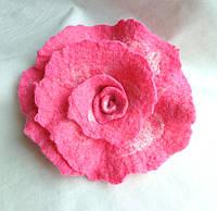 "Брошь валяная ручной работы ""Розовый Рай"""