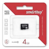 Карта памяти Smartbuy Micro SDHC 4GB  Class 10 с адаптером SD   .e
