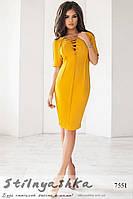 Замшевое платье шнуровка горчица