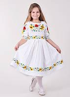 """Вышитое платье """"Соцветие"""" украшенное букетом из подсолнухов маков и ромашек"""