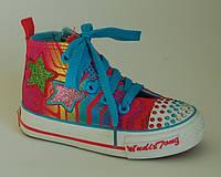 Модные яркие высокие кеды для девочек WUDISHENTONG арт.X88680 малиново-голубой, р.26,27,28,29,30