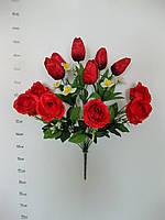 Роза бутон раскрытый+тюльпаны