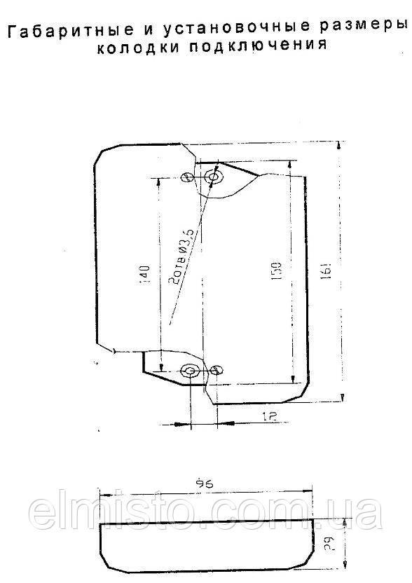 Габаритные  и установочные размеры колодки АРР5.282.104-01