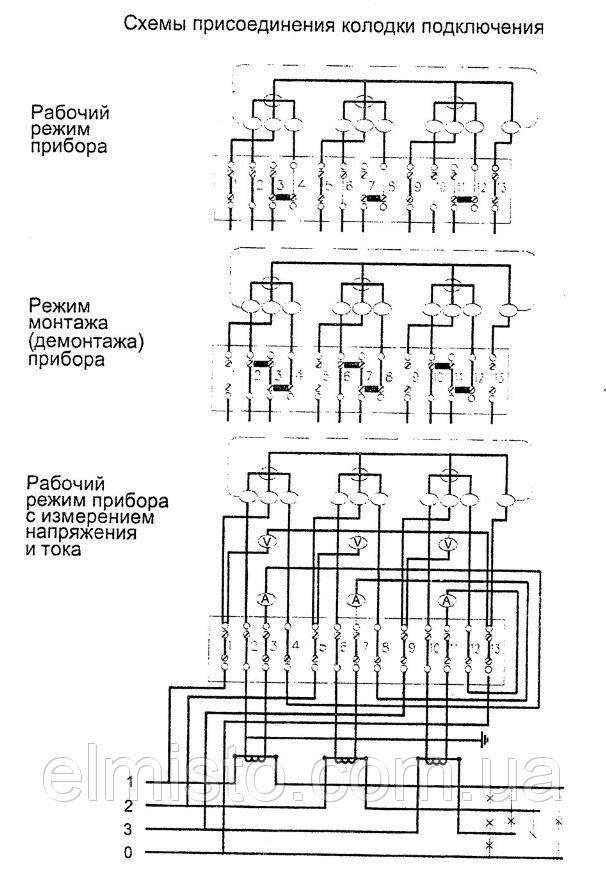 Схема подключения счетчика и колодки АРР5.282.104-01 к четырехпроводной сети 220/380 В: