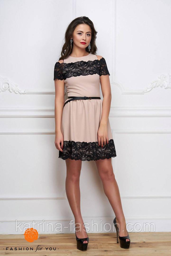 331ec7d8dcb Женское модное платье с элементами кружева (расцветки) - KATRINA FASHION -  оптовый интернет-