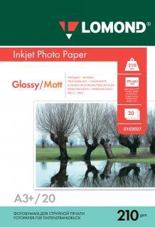 Двусторонняя глянцевая/матовая фотобумага для струйной печати A3+, 210 г/м2, 20 листов