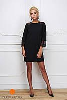Женское модное платье-трапеция с кружевом (расцветки), фото 1