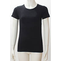 Топ футболка Фокс (корот.рукав) 34р. хлопок-92% лайкра 8% черный