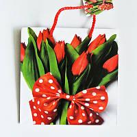 Подарочные пакет  Чашка 16х16х7,5 Тюльпаны