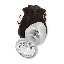 Средняя анальная пробка металическая с  кристаллом + чехол. 8*3.4 см. Прозрачная.