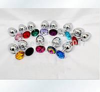 Анальная пробка ,плаг стальная с кристаллами +  чехол. Разные цвета.