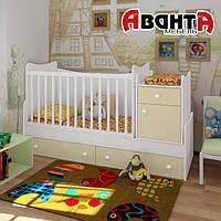 """Детская кроватка-трансформер """"CLASSIC"""" (БЕЛЫЙ-ВАНИЛЬ)"""