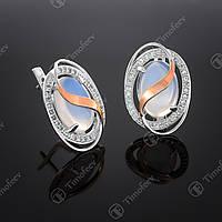 Серебряные серьги с лунным камнем и фианитами. Артикул С-199