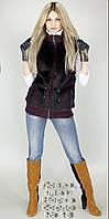 Меховой женский жилет. Довяз, цвет: Норка бордо № 18