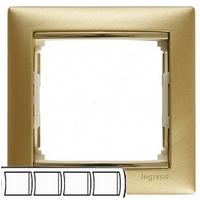 Рамка 4 поста матовое золото Legrand Valena 770304