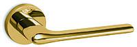 Дверная ручка на раздельной круглой розе 1485 полированная латунь Convex (Греция)