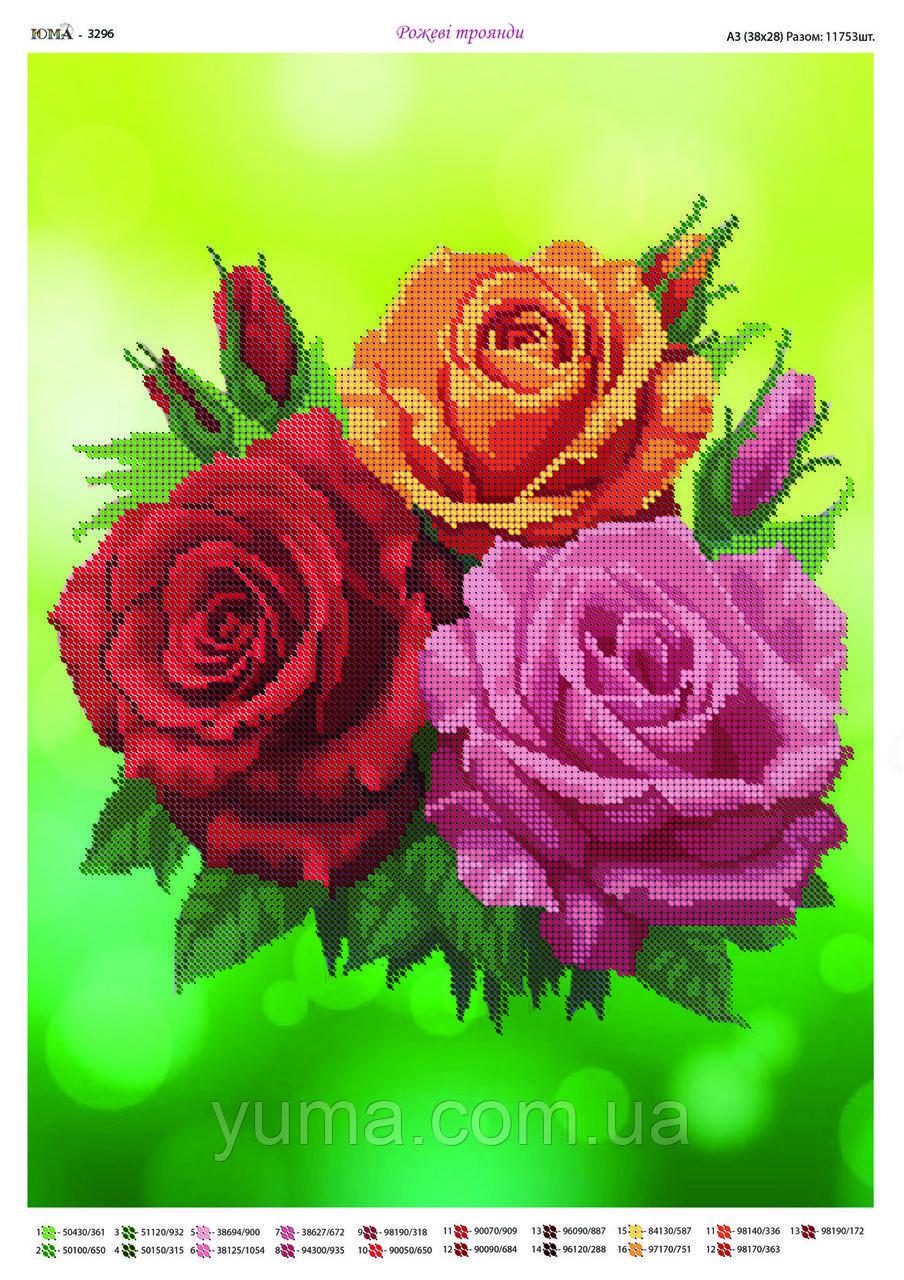 """Схема для вышивки бисером """"Три розы"""""""