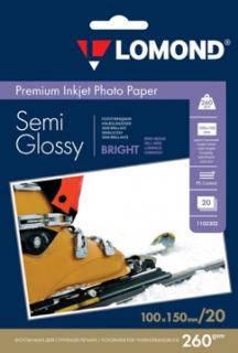 Полуглянцевая ярко-белая микропористая фотобумага для струйной печати, A6, 260 г/м2, 20 листов