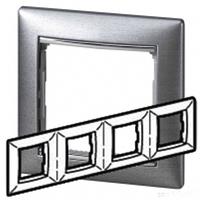 Рамка 4 поста алюминий матовый Legrand Valena 770334