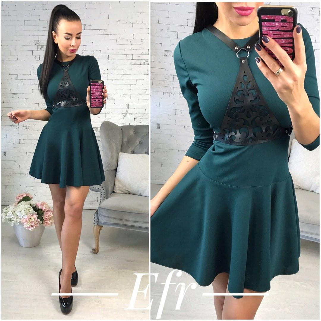 87e3408b798e5b9 Купить Платье короткое зелёное с декором оптом и в розницу от ...
