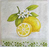 Салфетка для декупажа Лимон с веточкой 25*25 см, 1 шт