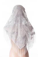 Белый платок метровый с серебром свадебный