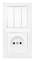 Блок ( розетка и выключатель ) 3 кл, б/з, 10А-16А, с монтажной коробкой., Стиль