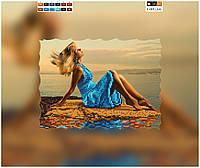 """Схема для вышивки бисером """"Девушка на берегу"""", на холсте А4"""