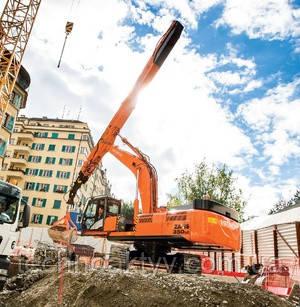 Специальная техника HITACHI: перегружатели, экскаваторы с грейферным ковшом на телескопической рукояти, сверхвысокое оборудование для демонтажа зданий и сооружений, сверхдлинное рабочее оборудование