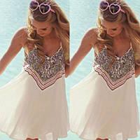Женская легкая платье туника белого цвета