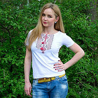 """Жіноча футболка з вишивкой """"Геометрія червона""""  42-52 рр"""