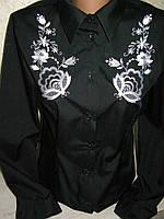 """Вышитая женская рубашка """"Петриківський розпис"""" с длинным рукавом (арт. CK1-158.0.0)"""