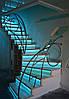 Лестница поворотная закрытая с подсветкой