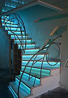 Лестница поворотная закрытая с подсветкой, фото 1