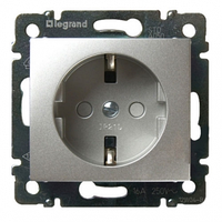 Механизм розетки (2К+3) 16А немецкий стандарт со шторками алюминий Legrand Valena 770121