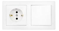 Блок ( розетка и выключатель) 1 кл, з/з, 10А-16А, с монтажной коробкой., Стиль