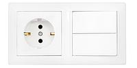 Блок ( розетка и выключатель) 2 кл, з/з, 10А-16А, с монтажной коробкой., Стиль