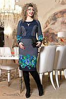 Стильное синее платье батального размера с принтом  2007 Seventeen  50-56  размеры