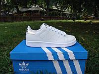 Женские стильные кроссовки Adidas Stan Smith Natural leather. (адидас стен смиз нетурал леазер) белые