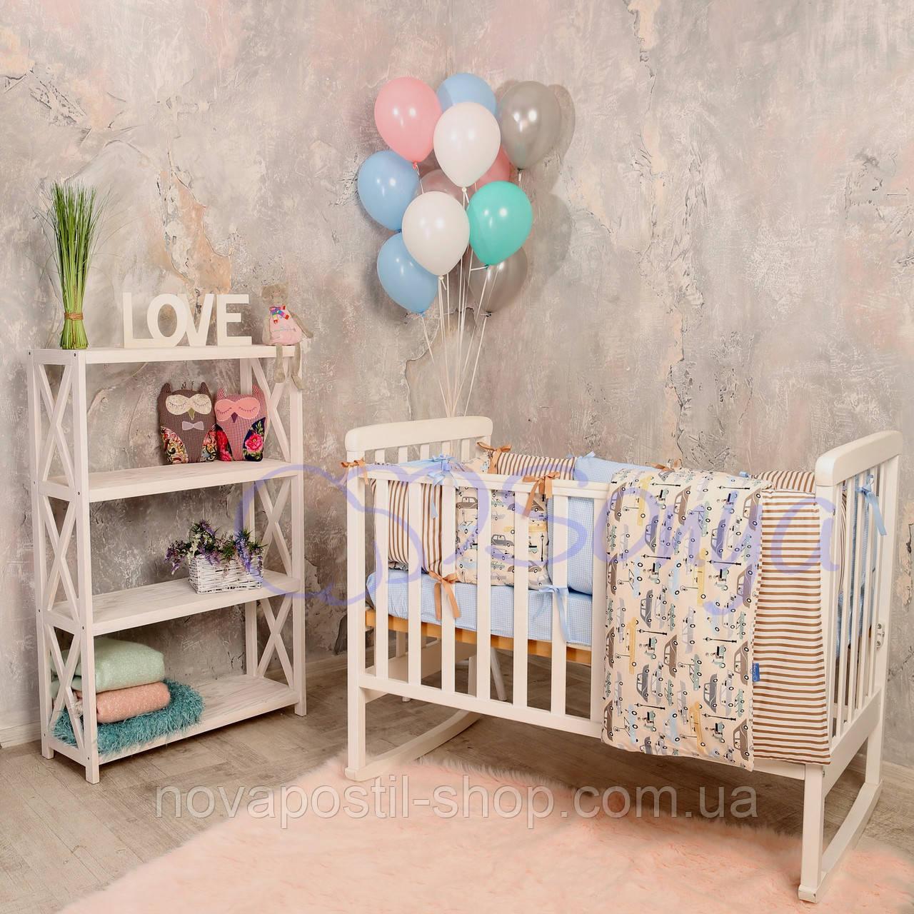 Набор в детскую кроватку  Baby Design Premium машинки (6 предметов)