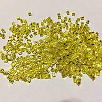 Бісер (бисер) MATSUNO Японія  рубка, 11/ 2 CUT 100 грам, № 35, жовтий блискучий