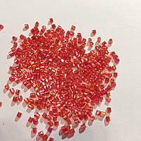Бисер рубка японский Матсуно Япония MATSUNO 11/ 2 CUT 100 грам, №537 , червоний світлий з перламутром