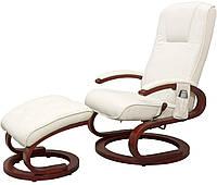 Кресло белое для отдыха с массажем + пуф + обогрев