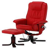 Кресло красное для отдыха с массажем + пуф + обогрев + Бесплатная доставка
