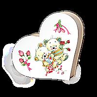 """Шкатулка сердечко """"Влюбленные мишки"""" большая"""