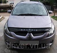 Дефлектор капота (мухобойка) Mitsubishi Grandis 2003-2011, на крепежах