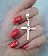 Серебряный крестик с накладками золота