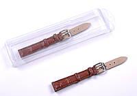 Ремешок кожаный для наручных часов, коричневый, 12 мм