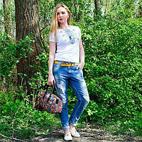 """Жіноча футболка з вишивкой """"Ромби блакитні""""   42-56 рр"""