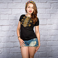 """Жіноча футболка з вишивкой """"Ромби коричневі"""" на чорному фоні    42-56 рр"""